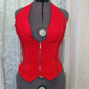 OH YES Retro Red corset-style bikers lace-up vest